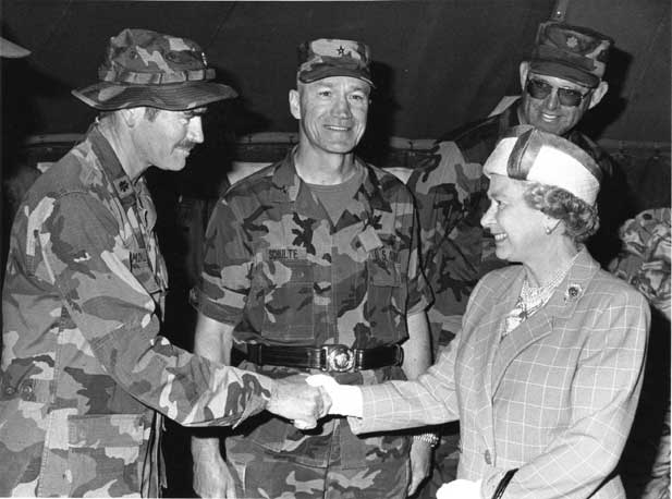 MAJ Morley shaking hands with Queen Elizabeth II